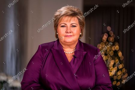 Stock Image of Prime Minister Erna Solberg reads her New Year's speech for NRK at the Prime Minister's office on New Year's Eve, in Oslo, Norway, 31 December 2020 (Issued 01 January 2021).