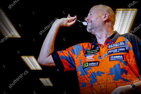 Editorial image of Raymond van Barneveld darts training, Spijkernisse, Netherlands - 11 Dec 2020