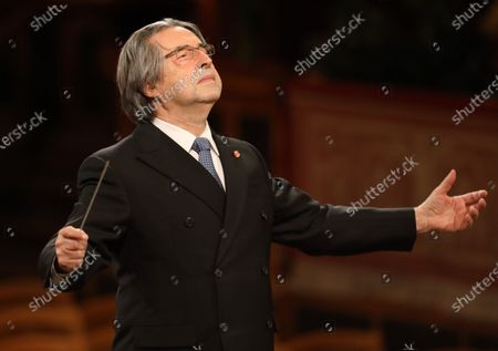 """Italian conductor Riccardo Muti conducts the Vienna Philharmonic during the 2021 Vienna Philharmonic New Year's Concert in Vienna, Austria, on Jan. 1, 2021. The New Year's Concert by Vienna Philharmonic took place in front of empty ranks in the """"Golden Hall"""" of the Musikverein in Vienna, the first time in its 81-year history since the event started in 1939."""