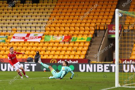Luke Thomas of Barnsley beats Tim Krul of Norwich City but his effort rebounds back off the crossbar - Norwich City v Barnsley, Sky Bet Championship, Carrow Road, Norwich, UK - 2nd January 2020