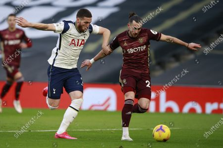 Matt Doherty (L) of Tottenham in action against Jack Harrison (R) of Leeds during the English Premier League soccer match between Tottenham Hotspur and Leeds United in London, Britain, 02 January 2021.