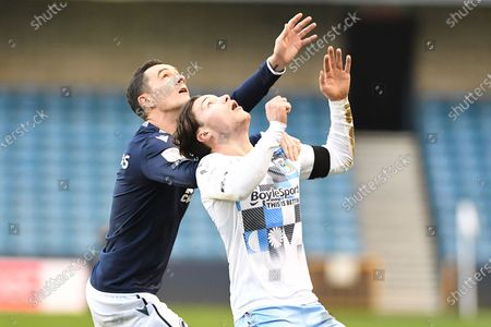 Millwall midfielder Shaun Williams (6)  Coventry City midfielder Callum O'Hare (11) during the EFL Sky Bet Championship match between Millwall and Coventry City at The Den, London