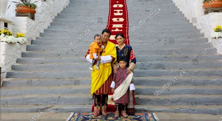 Stock Picture of Bhutan New Year wishes by His Majesty King Jigme Khesar Namgyel Wangchuck, Her Majesty Queen Jetsun Pema Wangchuck, His Royal Highness Gyalsey Jigme Namgyel, and His Royal Highness Gyalsey Ugyen Wangchuck, on National Day (17th December, 2020) at Punakha Dzong, Punakha, Bhutan.