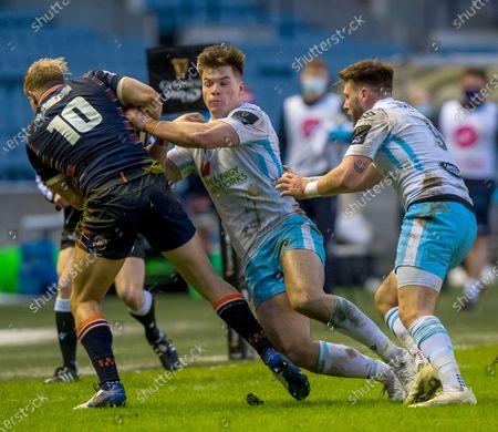 Edinburgh Rugby v Glasgow Warriors. Edinburgh's Jaco van der Walt is tackled by Huw Jones of Glasgow Warriors