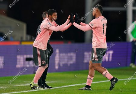 Sheffield United's Lys Mousset (R) is replaced by Rhian Brewster (L) during the English Premier League soccer match between Crystal Palace and Sheffield United in London, Britain, 02 January 2021.