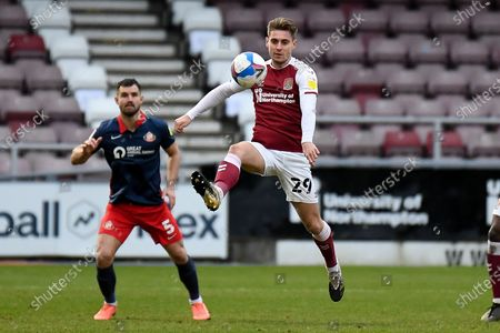 Northampton Town forward Danny Rose (29) controls in the air during the EFL Sky Bet League 1 match between Northampton Town and Sunderland at the PTS Academy Stadium, Northampton
