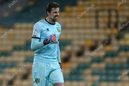 Stock Photo of Tim Krul of Norwich City celebrates as Emi Buendia of Norwich City scores