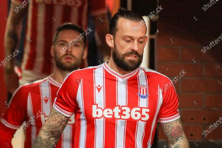 Stock Image of Stoke City forward Steven Fletcher (21) during the EFL Sky Bet Championship match between Stoke City and Bournemouth at the Bet365 Stadium, Stoke-on-Trent