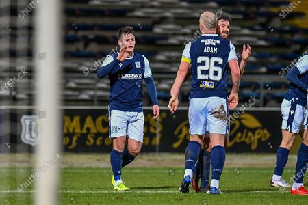 GOAL 2-0 Danny Mullen (#9) of Dundee FC celebrates with Charlie Adam (#26) of Dundee FC after scoring Dundee's second goal during the SPFL Championship match between Dundee and Heart of Midlothian at Dens Park, Dundee