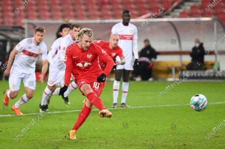 Emil Forsberg of RB Leipzig fails to score from the penalty spot during the German Bundesliga match between VfB Stuttgart and RB Leipzig at Mercedes-Benz Arena in Stuttgart, Germany, 02 January 2021.