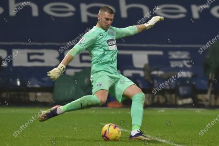 West Bromwich goalkeeper Sam Johnstone in action during the English Premier League soccer match between West Bromwich Albion and Arsenal London in West Bromwich, Britain, 02 January 2021.