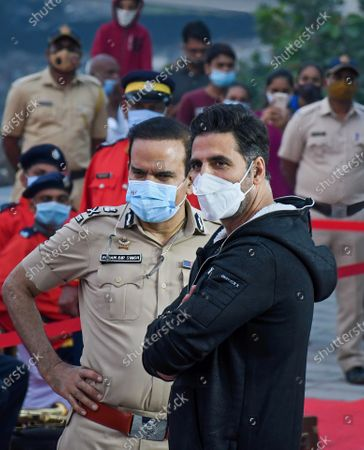 Bollywood actor, Akshay Kumar with police personnel during the launch.Segway was launched for the police personnel to patrol the promenade at Worli sea face.