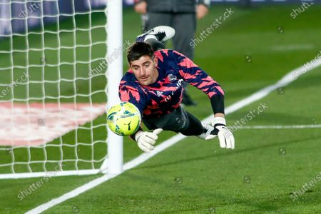 Thibaut Courtois of Real Madrid warms up during the spanish league, La Liga Santander, football match played between Real Madrid and Celta de Vigo at Ciudad Deportiva Real Madrid on january 02, 2021, in Valdebebas, Madrid, Spain