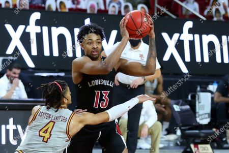 Chestnut Hill, MA, USA; Louisville Cardinals guard David Johnson (13) defebnded by Boston College Eagles guard Makai Ashton-Langford (4) during the NCAA basketball game between Louisville Cardinals and Boston College Eagles at Conte Forum