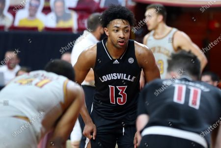 Stock Photo of Chestnut Hill, MA, USA; Louisville Cardinals guard David Johnson (13) during the NCAA basketball game between Louisville Cardinals and Boston College Eagles at Conte Forum