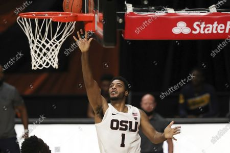 Oregon State's Maurice Calloo (1) goes up for a basket during the first half of an NCAA college basketball game against California in Corvallis, Ore., . Oregon State won 73-64