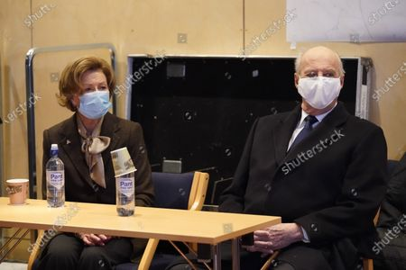 Stock Image of Norway's King Harald (R) and Queen Sonja visit the control room of the crisis management in Gjerdrum, Norway, 03 January 2021, to thank volunteers and rescue crews after a landslide emergency incident. Several homes have been taken by the landslide in Ask that occurred on 30 December. Several people are missing, and five have been confirmed dead. More than 1,000 people in the area have been evacuated.
