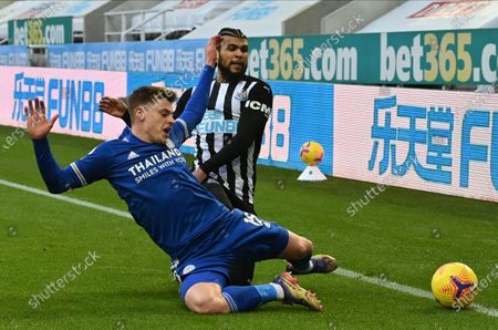 DeAndre Yedlin (R) of Newcastle in action against Harvey Barnes (L) of Leicester during the English Premier League soccer match between Newcastle United and Leicester City in Newcastle, Britain, 03 January 2021.