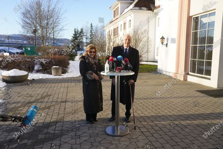 Norway's King Harald (R) and Queen Sonja talk at a press briefing after meeting relatives and evacuees at a hotel in Skjetten, Norway, 03 January 2021. Several homes have been taken by the landslide in Ask that occurred on 30 December. Several people are missing, and five have been confirmed dead. More than 1,000 people in the area have been evacuated.