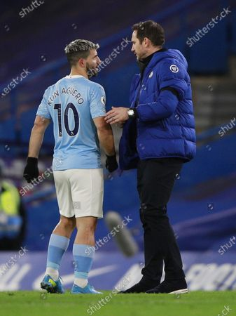 Chelsea's manager Frank Lampard (R) greets Sergio Aguero of Manchester City (L) at the end of the English Premier League soccer match between Chelsea and Manchester City in London, Britain, 03 January 2021.