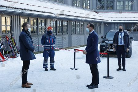Norway's Crown Prince Haakon (2-R) visits Clarion hotel Gardermoen to meet relatives and evacuees after a landslide in Ask, Gjerdrum municipality, Norway, 03 January 2021. Several homes have been taken by the landslide in Ask that occurred on 30 December. Several people are missing, and five have been confirmed dead. More than 1,000 people in the area have been evacuated.