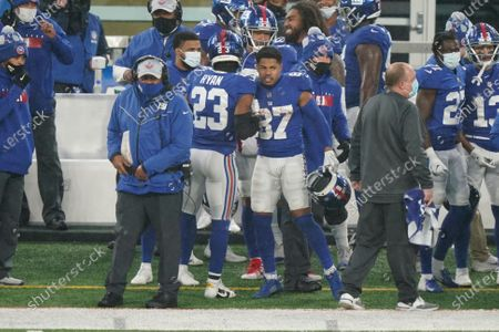 Stock Image of New York Giants' Sterling Shepard (87) reacts after an NFL football game against the Dallas Cowboys, in East Rutherford, N.J