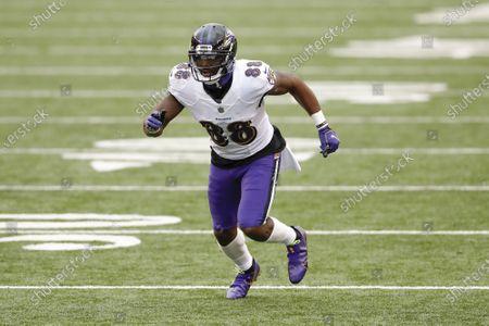Baltimore Ravens wide receiver Dez Bryant (88) plays in an NFL football game against the Cincinnati Bengals, in Cincinnati