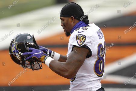 Stock Picture of Baltimore Ravens wide receiver Dez Bryant (88) before an NFL football game against the Cincinnati Bengals, in Cincinnati