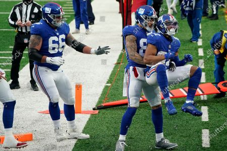 Stock Picture of New York Giants' Sterling Shepard (87), right, celebrates his touchdown during the first half of an NFL football game against the Dallas Cowboys, in East Rutherford, N.J