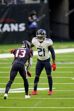 Tennessee Titans defensive back Malcolm Butler (21) lines up for the snap during an NFL football game against the Houston Texans, in Houston