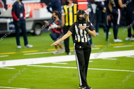 Down judge Sarah Thomas (53) is seen during an NFL football game between the Tennessee Titans and the Houston Texans, in Houston