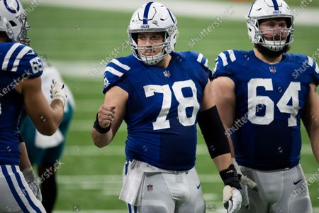 Stock Picture of Indianapolis Colts center Ryan Kelly (78) in the offensive huddle during an NFL football game against the Jacksonville Jaguars, in Indianapolis