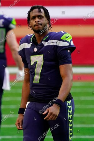 Stock Image of Seattle Seahawks quarterback Geno Smith (7) during an NFL football game against the San Francisco 49ers, in Glendale, Ariz