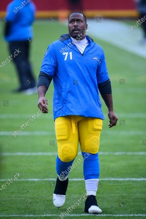 Stock Picture of Los Angeles Chargers nose tackle Damion Square during pre-game warmups before an NFL football game against the Kansas City Chiefs, in Kansas City, Mo