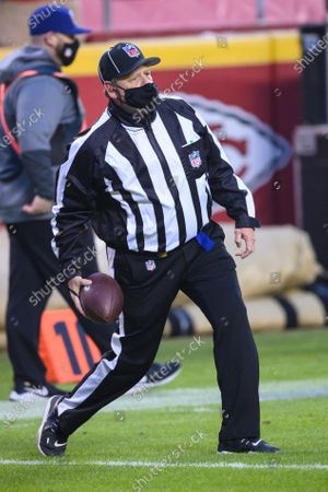 Field judge Tom Hill (97) during the first half of an NFL football game Sunday between the Kansas City Chiefs and the Los Angeles Chargers, in Kansas City, Mo