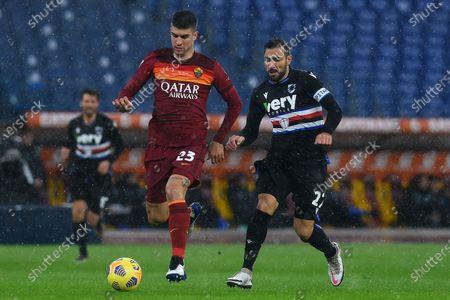 Stock Image of Gianluca Mancini of Roma,Fabio Quagliarella of Sampdoria,Roma v Sampdoria, Serie A