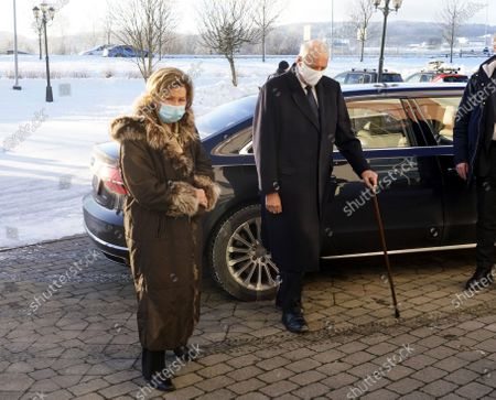 King Harald V of Norway (C) and Queen Sonja (L) visit relatives and evacuees of a landslide, at Olavsgaard hotel in Skjetten, Norway, 03 January 2021. Several homes have been taken by the landslide in Ask that occurred on 30 December. Several people are still missing, and five have been confirmed dead. More than 1,000 people in the area have been evacuated.