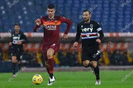 Gianluca Mancini of Rome, Fabio Quagliarella of Sampdoria, Rome v Sampdoria, Serie A