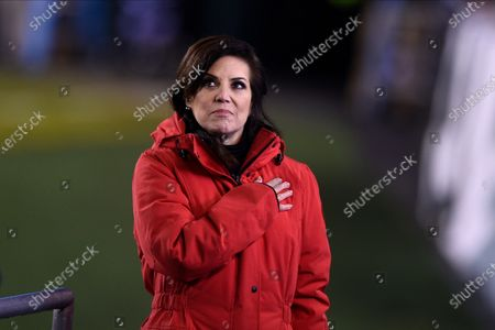 Sportscaster Michele Tafoya reports during the first half of an NFL football game between the Philadelphia Eagles and the Washington Football Team, in Philadelphia
