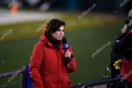 Stock Image of Sportscaster Michele Tafoya reports during the first half of an NFL football game between the Philadelphia Eagles and the Washington Football Team, in Philadelphia