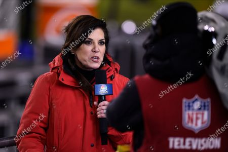 Stock Picture of Sportscaster Michele Tafoya reports during the first half of an NFL football game between the Philadelphia Eagles and the Washington Football Team, in Philadelphia