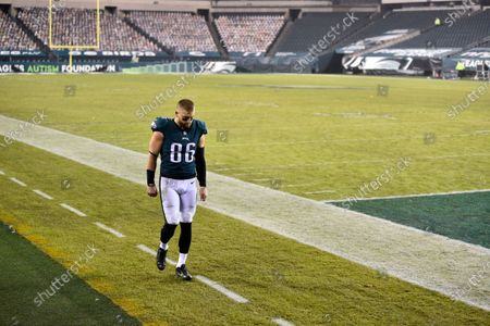 Stock Picture of Philadelphia Eagles' Zach Ertz walks to the locker room after an NFL football game against the Washington Football Team, in Philadelphia