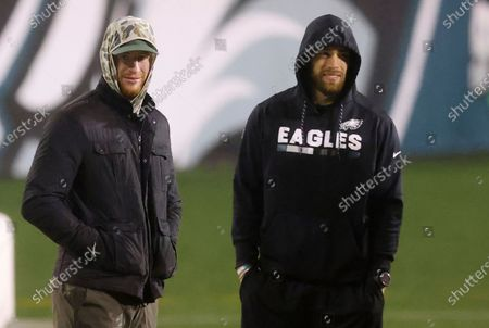 Stock Photo of Philadelphia Eagles' Carson Wentz and Zach Ertz stand on the field hours after the Eagles lost to the Washington Football Team 20-14 in an NFL football game, in Philadelphia