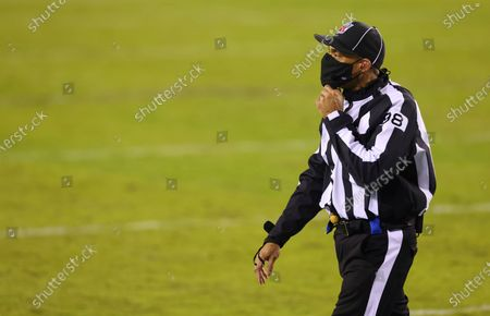 Line judge Greg Bradley (98) during an NFL football game between Washington Football Team and the Philadelphia Eagles, in Philadelphia