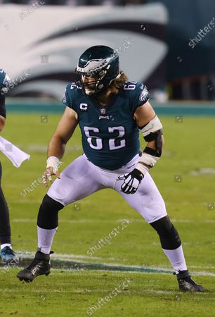 Philadelphia Eagles' Jason Kelce (62) during an NFL football game against the Washington Football Team, in Philadelphia