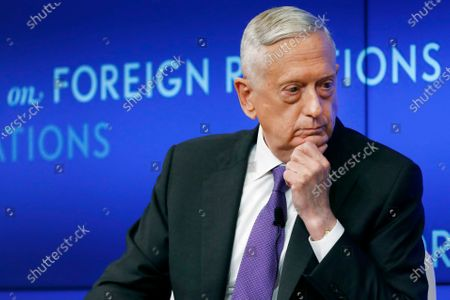 Stock Image of Former U.S. Secretary of Defense Jim Mattis listens to a question during his appearance at the Council on Foreign Relations in New York. All 10 living former secretaries of defense, including Mattis, have joined in cautioning against any attempt to use the military in the cause of overturning the November 2020 presidential election