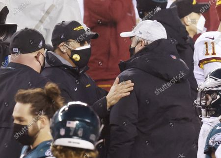 Washington Football Team head coach Ron Rivera exchanges words with Philadelphia Eagles head coach Doug Pederson after the game in week 17 of the NFL season at Lincoln Financial Field in Philadelphia on Sunday, January 3, 2021. Washington defeated the Eagles 20-14 and win the NFC East Division with a record of 7-9