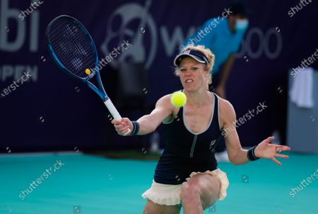 Laura Siegemund of Germany in action during the first round of the 2021 Abu Dhabi WTA Womens Tennis Open WTA 500 tournament.