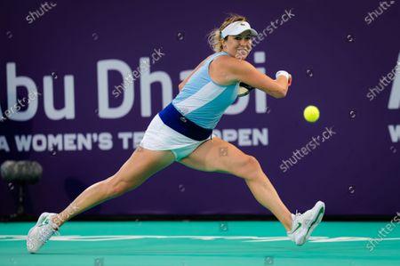 Stock Photo of Anastasia Pavlyuchenkova of Russia in action during the first round of the 2021 Abu Dhabi WTA Womens Tennis Open WTA 500 tournament.