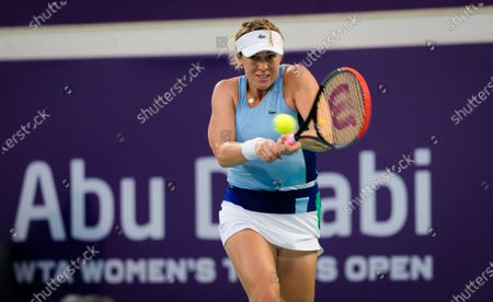 Stock Picture of Anastasia Pavlyuchenkova of Russia in action during the first round of the 2021 Abu Dhabi WTA Womens Tennis Open WTA 500 tournament.